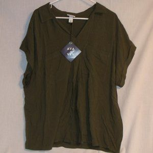 Ava Viv Plus Size Short Sleeve Collared Knit Woven